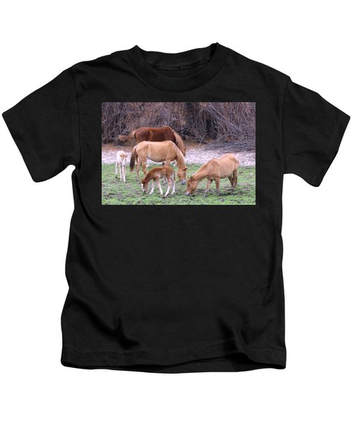 Kids T-Shirt featuring the photograph Salt River Wild Horses In Winter by Judy Kennedy