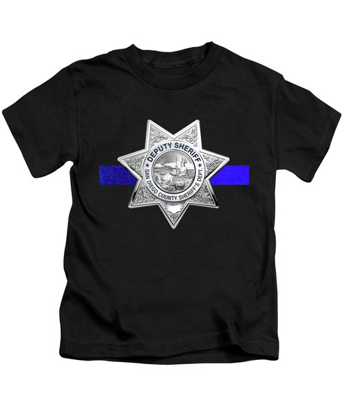 San Diego County Sheriff's Department -  S D S O  Deputy Sheriff Badge - The Thin Blue Line Edition Kids T-Shirt
