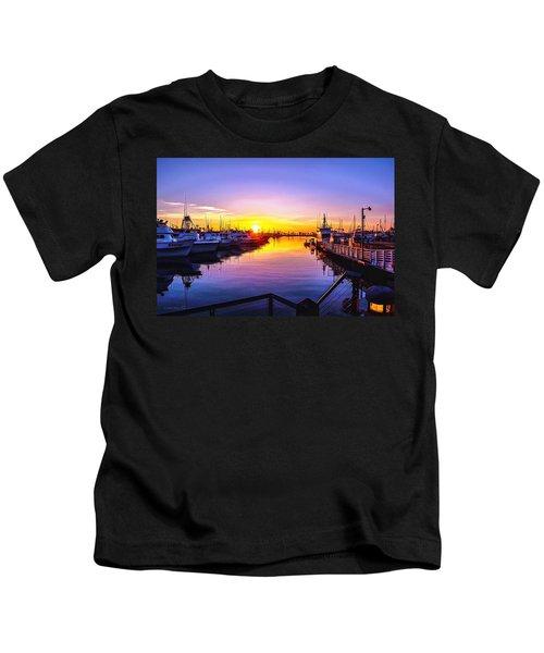 San Diego Harbor Sunrise Kids T-Shirt