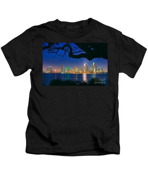 San Diego Skyline From Bay View Park In Coronado Kids T-Shirt