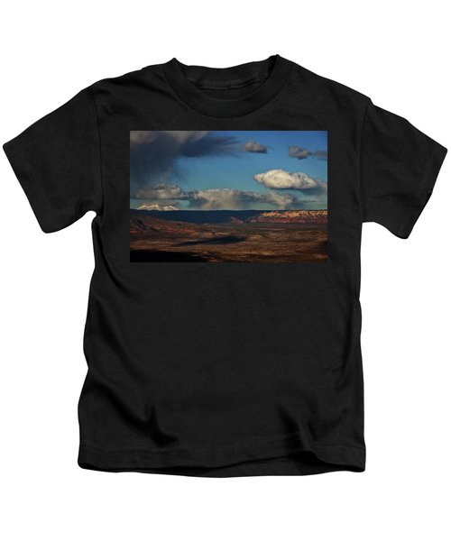 San Francisco Peaks With Snow And Clouds Kids T-Shirt