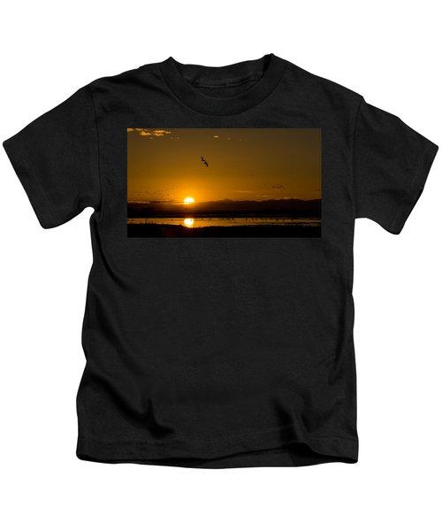 Sandhill Crane Sunrise Kids T-Shirt