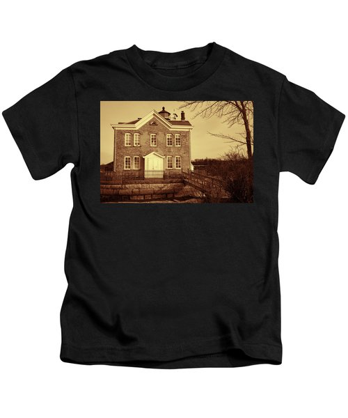 Saugerties Lighthouse Sepia Kids T-Shirt