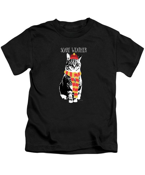 Scarf Weather Cat- Art By Linda Woods Kids T-Shirt
