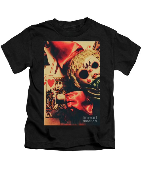 Scary Doll Dressed As Joker On Playing Card Kids T-Shirt