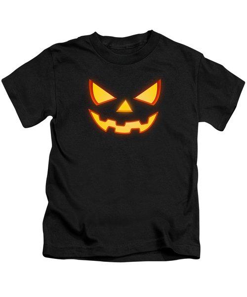 Scary Halloween Horror Pumpkin Face Kids T-Shirt by Philipp Rietz