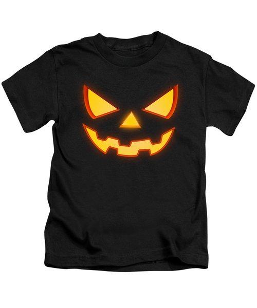 Scary Halloween Horror Pumpkin Face Kids T-Shirt