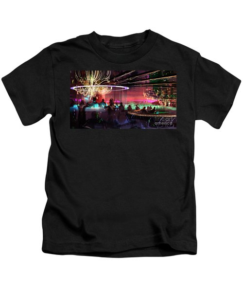 Kids T-Shirt featuring the painting Sci-fi Lounge by Tithi Luadthong