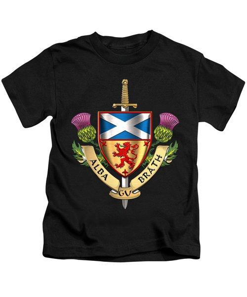 Scotland Forever - Alba Gu Brath - Symbols Of Scotland Over Black Velvet Kids T-Shirt