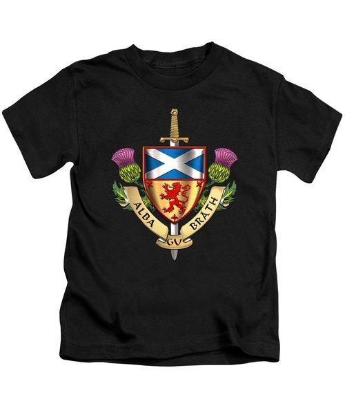 Scotland Forever - Alba Gu Brath - Symbols Of Scotland Over Brown Leather Kids T-Shirt