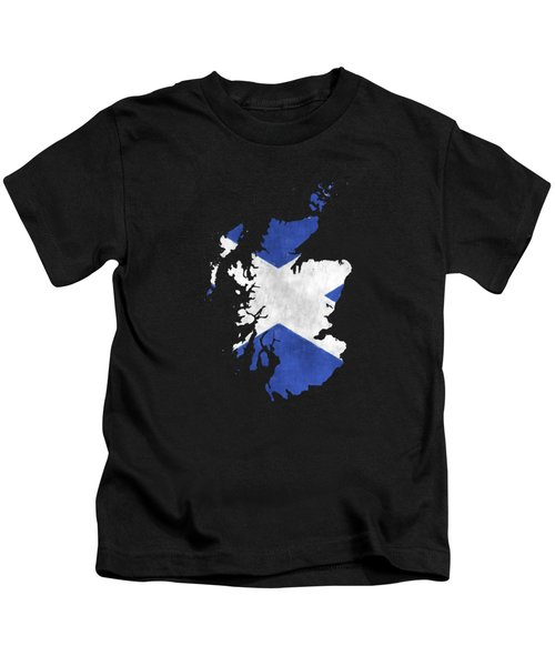 Scotland Map Art With Flag Design Kids T-Shirt