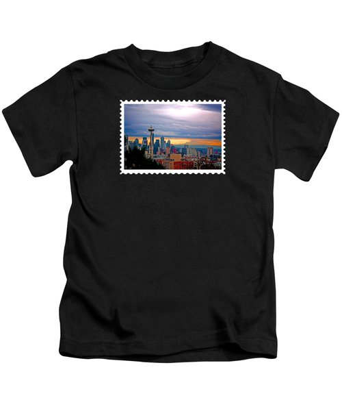 Seattle At Sunset Kids T-Shirt by Elaine Plesser