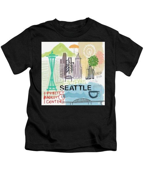 Seattle Cityscape- Art By Linda Woods Kids T-Shirt