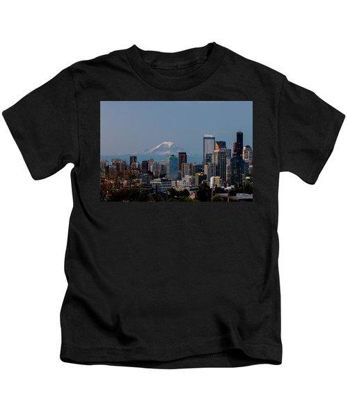 Seattle-mt. Rainier In The Morning Light .1 Kids T-Shirt
