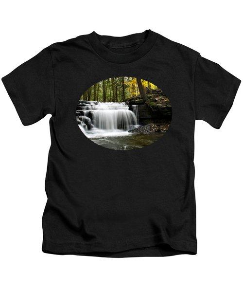 Serenity Waterfalls Landscape Kids T-Shirt by Christina Rollo