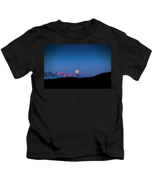 Setting Moon Over Alaskan Peaks Kids T-Shirt