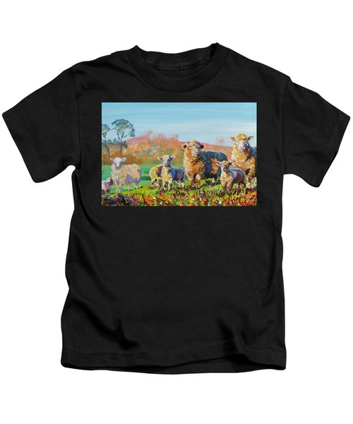 Sheep And Lambs In Devon Landscape Bright Colors Kids T-Shirt