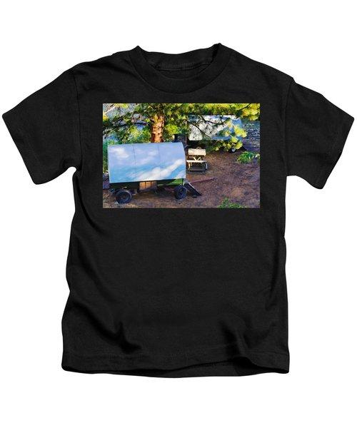 Sheep Wagons On Salmon River, Idaho Kids T-Shirt