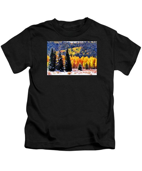 Shivering Pines In Autumn Kids T-Shirt