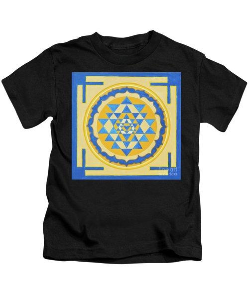 Shri Yantra For Meditation Painted Kids T-Shirt