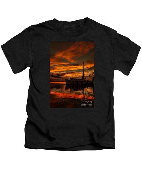 Shrimp Boat Sunset Kids T-Shirt