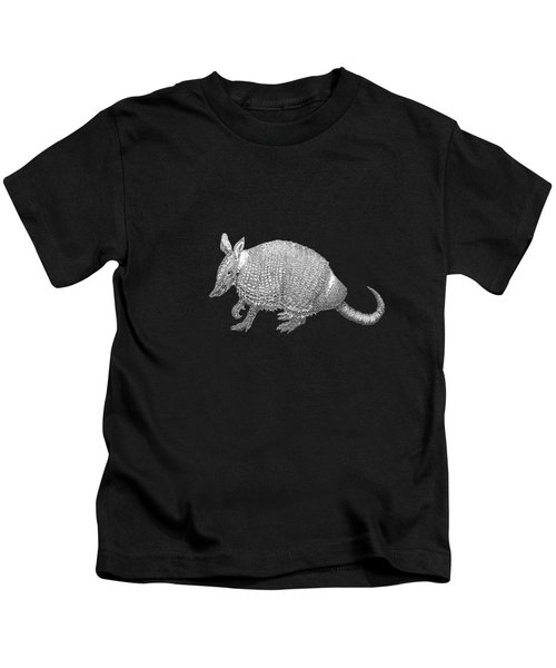 Silver Armadillo On Black Canvas Kids T-Shirt
