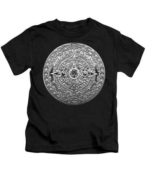 Silver Mayan-aztec Calendar On Black And Red Leather Kids T-Shirt