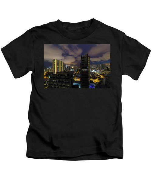 Singapore Cityscape On A Cloudy Night Kids T-Shirt