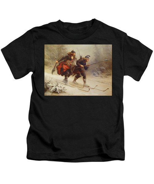 Skiing Birchlegs Crossing The Mountain With The Royal Child Kids T-Shirt