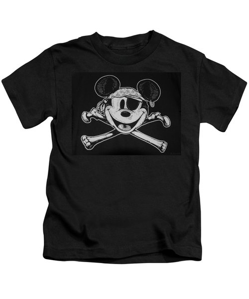 Skull And Bones Mickey  Kids T-Shirt