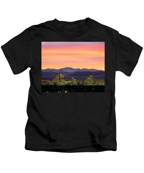 Skyline And Mountains At Dusk, Denver Kids T-Shirt