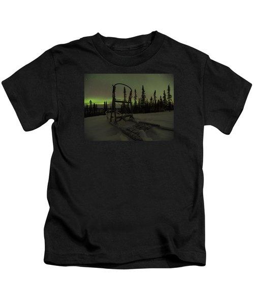 Sled Skeleton Aurora Kids T-Shirt
