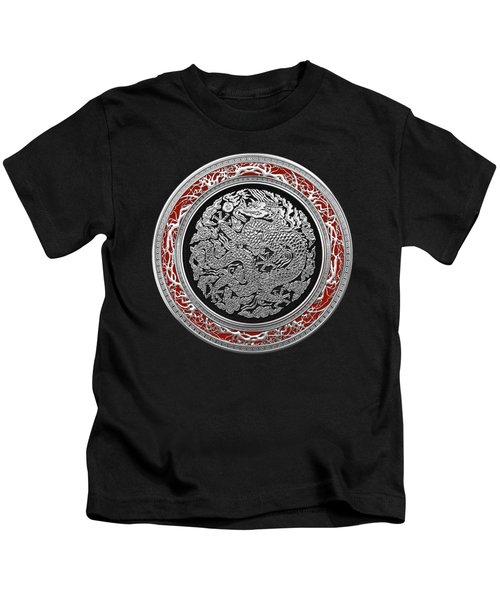 Sliver Chinese Dragon On Black Velvet Kids T-Shirt