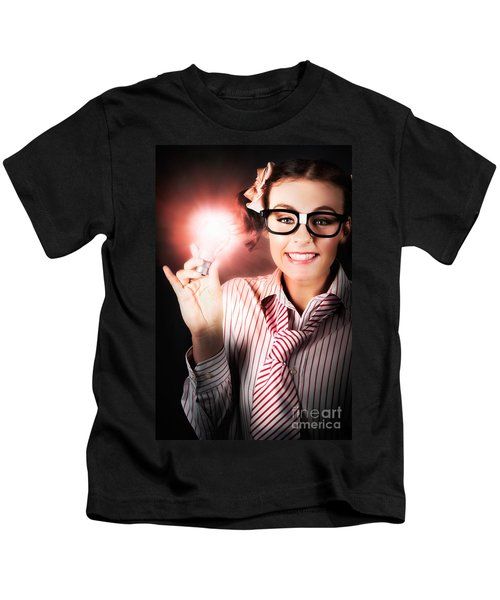 Smart Business Person Holding Light Bulb In Hand Kids T-Shirt