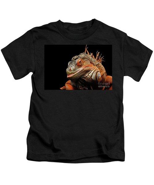 smiling Orange iguana isolated on black  Kids T-Shirt