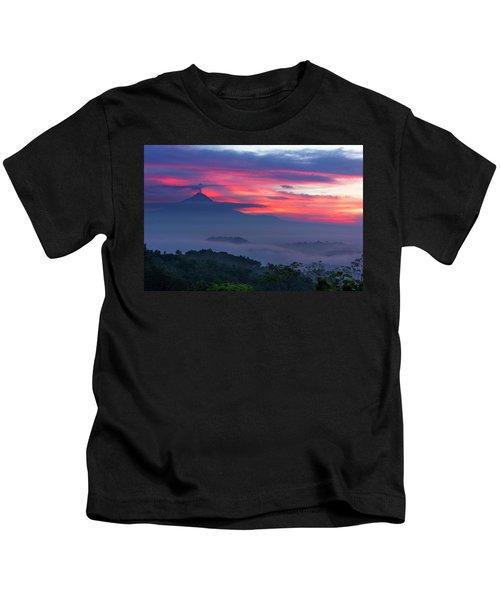 Smoking Volcano And Borobudur Temple Kids T-Shirt