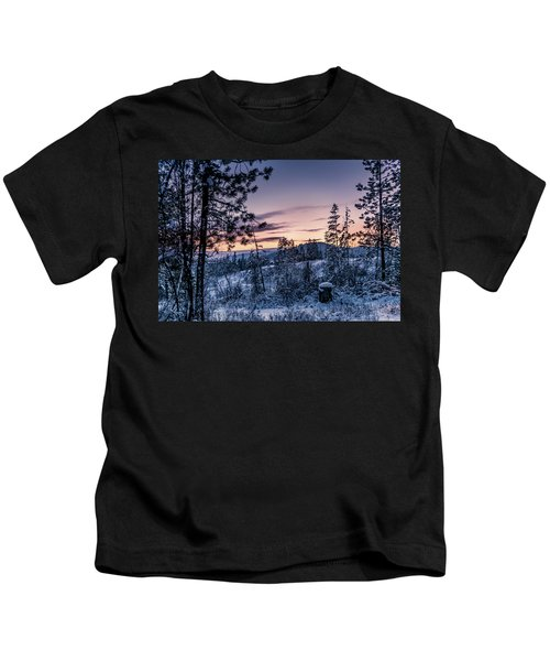 Snow Coved Trees And Sunset Kids T-Shirt