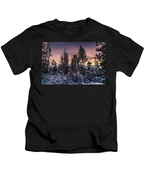 Snow Covered Pine Trees Kids T-Shirt