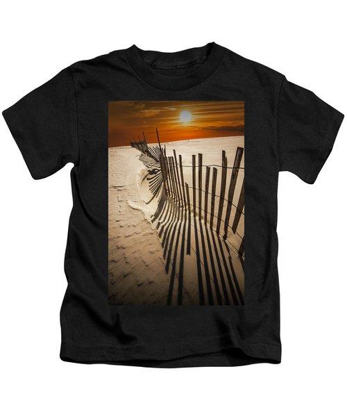 Snow Fence At Sunset Kids T-Shirt