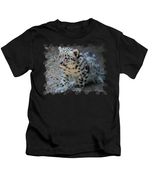 Snow Leopard Cub Paws Border Kids T-Shirt by Terry DeLuco