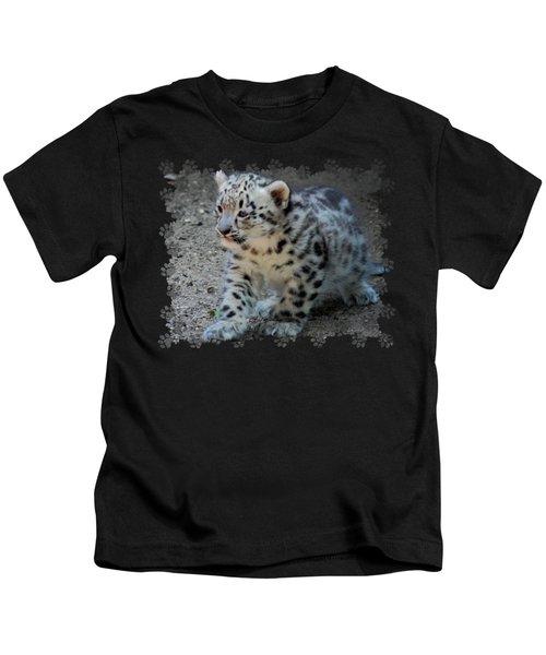 Snow Leopard Cub Paws Border Kids T-Shirt