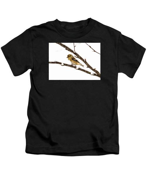 Snowy Day Goldfinch Kids T-Shirt
