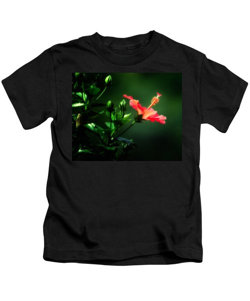 Soft Red Hibiscus Plant Kids T-Shirt