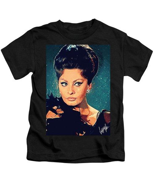 Sophia Loren Kids T-Shirt by Taylan Apukovska