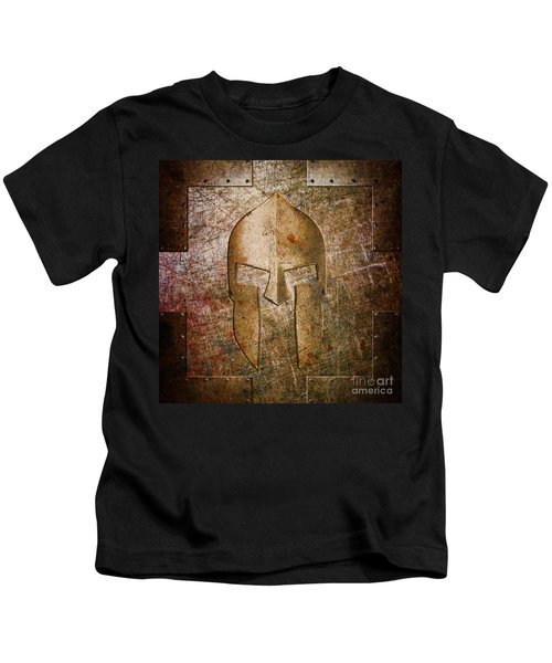 Spartan Helmet On Metal Sheet With Copper Hue Kids T-Shirt