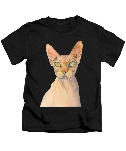 Sphynx Cat Watercolor Portrait Kids T-Shirt