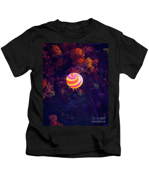 Spiral Colored Hot Air Balloon Over Fall Tree Tops Mchenry   Kids T-Shirt