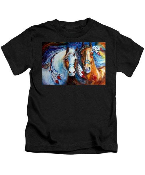 Spirit Indian War Horses Commission Kids T-Shirt