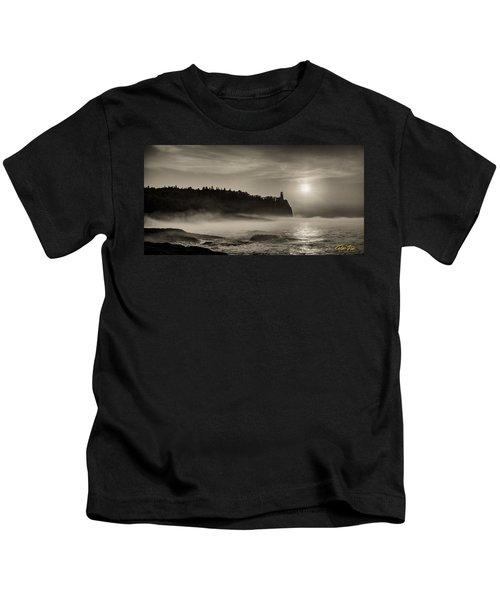 Split Rock Lighthouse Emerging Fog Kids T-Shirt
