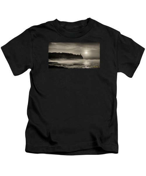 Split Rock Lighthouse Emerging Fog Kids T-Shirt